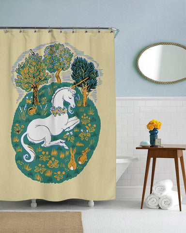 Woodland Friends Unicorn Shower Curtain-GoGetGlam