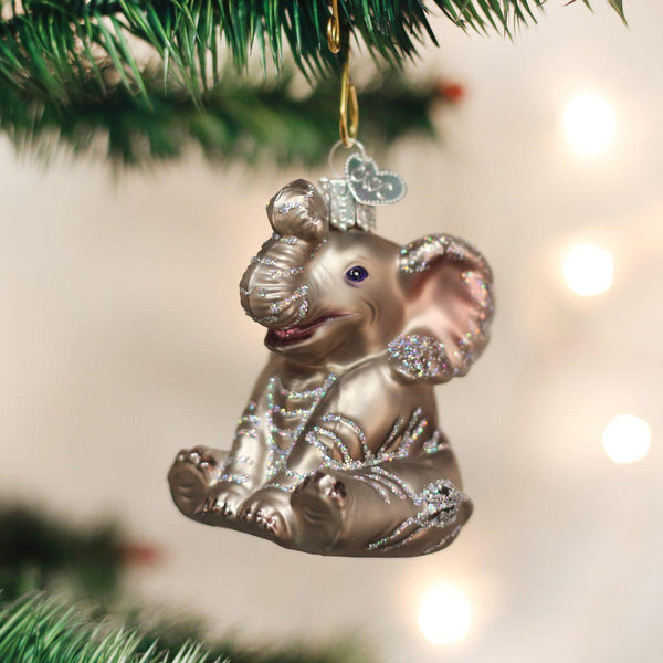 Elephant Blown Glass Christmas Ornament