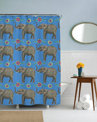 Boho Floral Elephant Bathroom Fun Shower Curtain-GoGetGlam