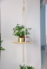 Boho Macrame Hanging Floating Shelf Planter-GoGetGlam