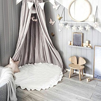 Grey Bed Canopy & Fairy Lights - Boho Bohemian Decor