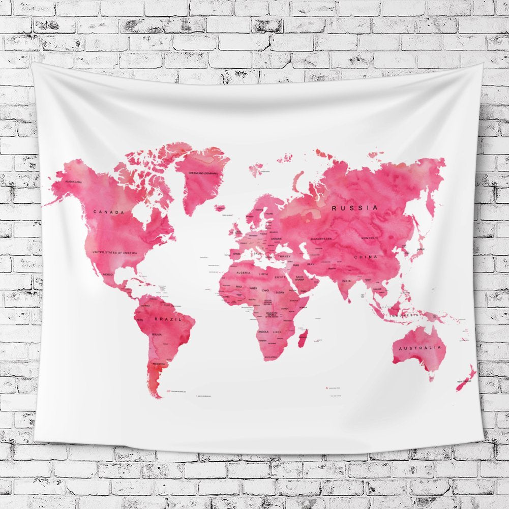 Pink World Map Fabric Wall Tapestry - Pink world map poster
