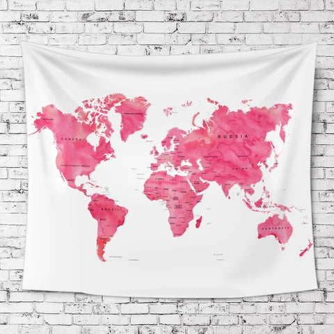 Pink World Map Fabric Wall Tapestry - Boho Bohemian Decor