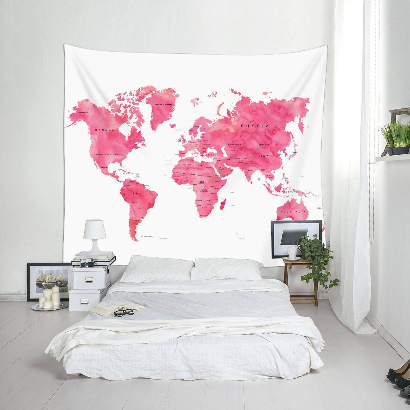 Pink world map fabric wall tapestry pink world map fabric wall tapestry gogetglam gumiabroncs Choice Image