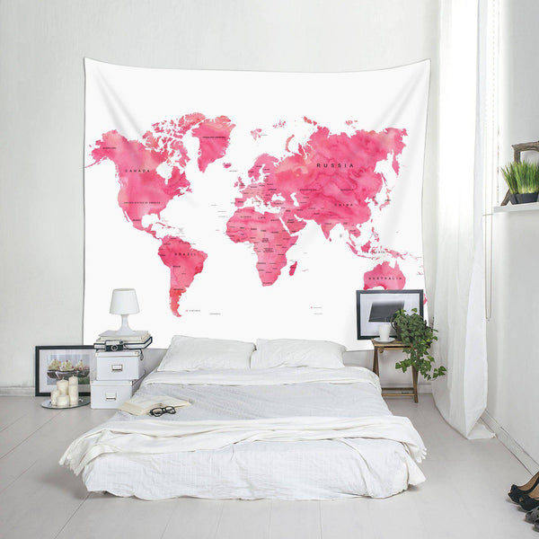 Pink World Map Fabric Wall Tapestry-GoGetGlam