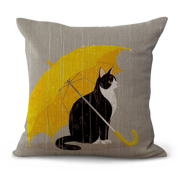 Rainy Day Cat Throw Pillow - Boho Bohemian Decor
