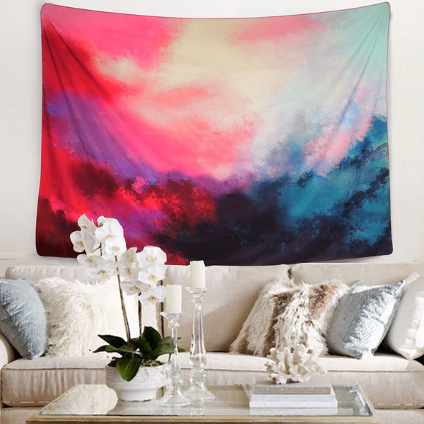 New Pink Clouds Bohemian Fabric Tapestry - Boho Bohemian Decor