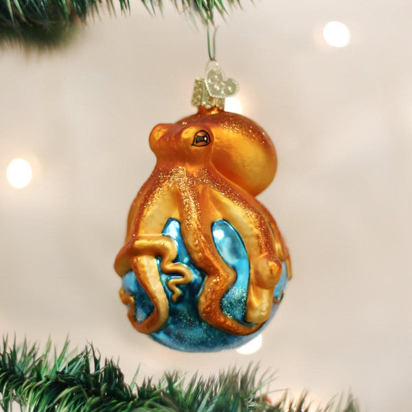 Octopus Squid Blown Glass Christmas Ornament