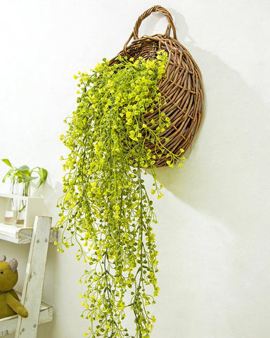 Wall Hanging Basket with Decorative Artificial Plant Vine - Boho Bohemian Decor