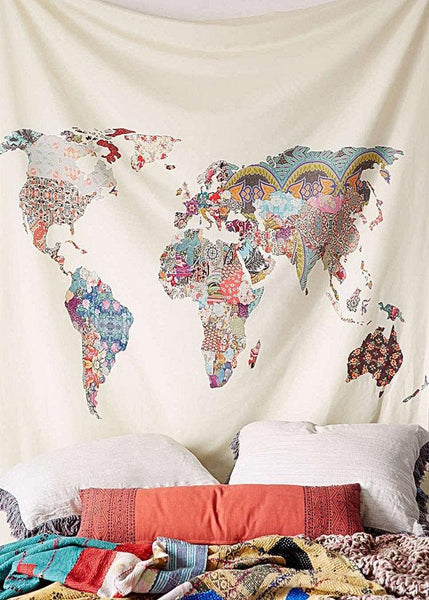 Colorful Map Boho Fabric Wall Tapestry-GoGetGlam