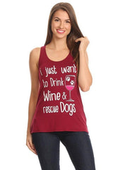 Drink Wine Rescue Dogs Racerback Tank Top-GoGetGlam