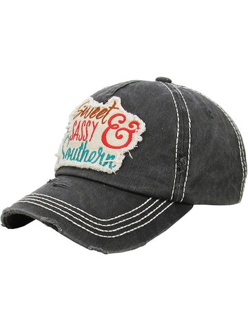 Sweet Sassy Southern Washed Vintage Ball Cap-GoGetGlam