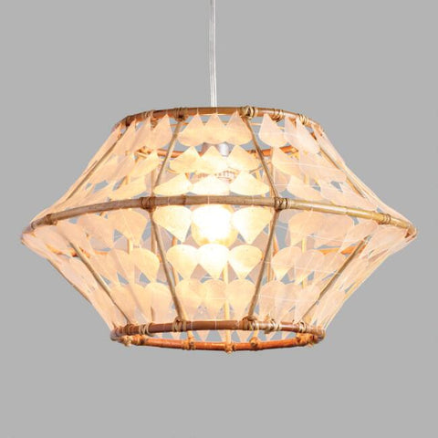 White Capiz And Rattan Samar Pendant Shade
