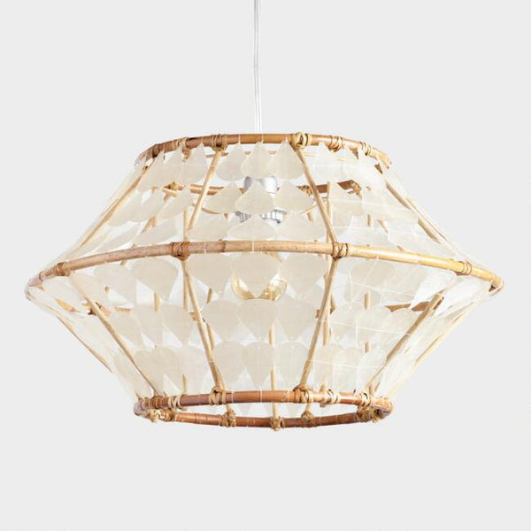 White Capiz And Rattan Samar Pendant Shade - Boho Bohemian Decor