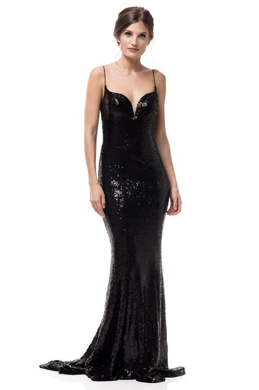 Beth Black Sequin Prom Formal Event Dress Gown-GoGetGlam