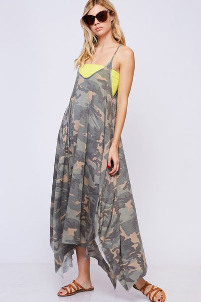 Military Camo Casual Maxi Dress