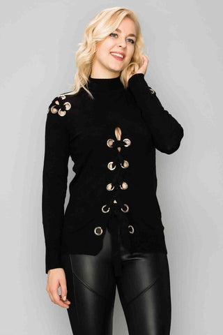 Eyelet Lace Front Long Sleeve Top-GoGetGlam
