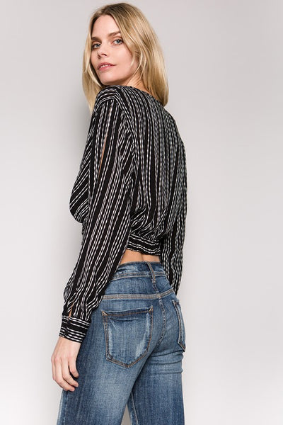 Black Striped Open Sleeve Crop Top - GoGetGlam Boho Style