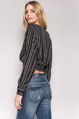 Black Striped Open Sleeve Crop Top-GoGetGlam
