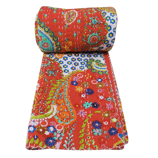 India Artisan Bohemian Red Full Size Bed Throw Quilt-GoGetGlam