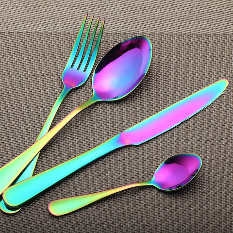 Rainbow Reflection 4-PC Flatware Set - Boho Bohemian Decor