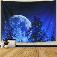 Blue Moon Night Sky Bohemian Wall Tapestry-GoGetGlam