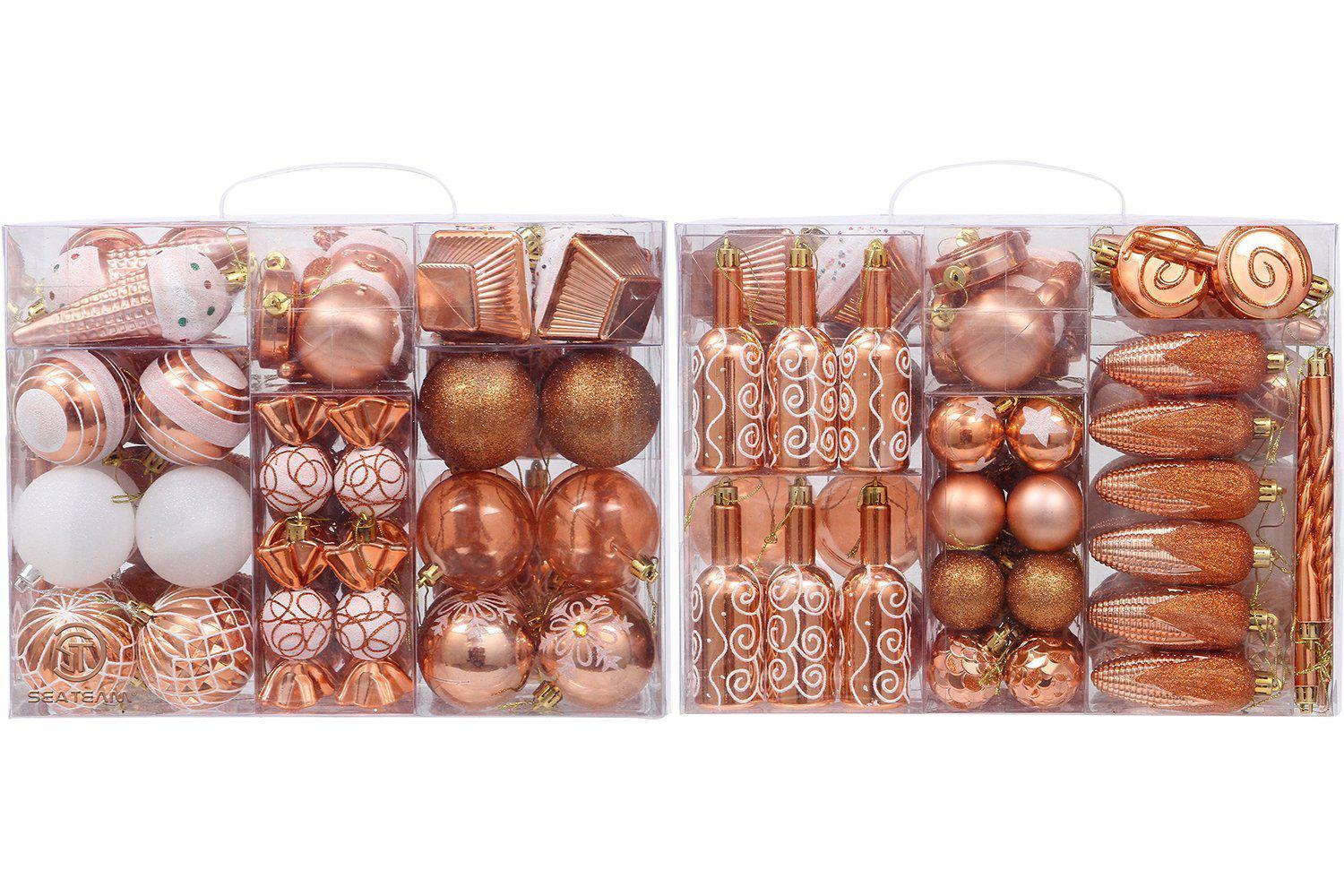 81-Pack Assorted Shatterproof Christmas Ball Ornaments Sets
