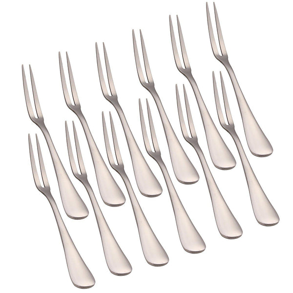 Set of 12 Cocktail Fruit Dessert Stainless Steel Forks-GoGetGlam