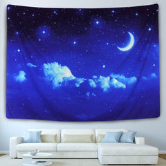 Blue Night Sky Bohemian Wall Tapestry-GoGetGlam