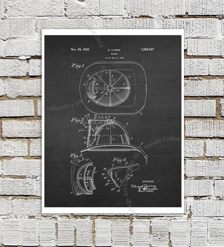 Set of 4 Firefighter Patent Art Prints-GoGetGlam