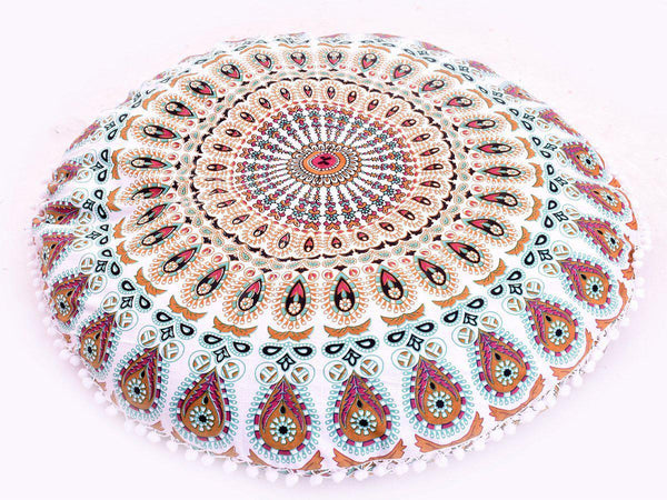 "Aza Boho Home 32"" Round Floor Pillow-GoGetGlam"