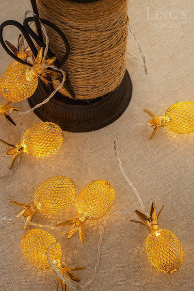Set of 10 Metal Pineapple Shaped Lanterns String Lights-GoGetGlam