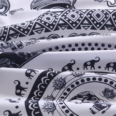 Elephant Circle Black White Tapestry Duvet Cover SET-GoGetGlam