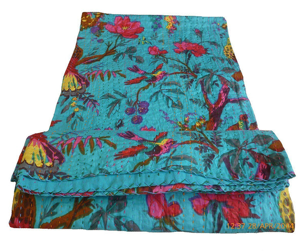 India Artisan Bohemian Teal King Size Bed Throw Quilt-GoGetGlam