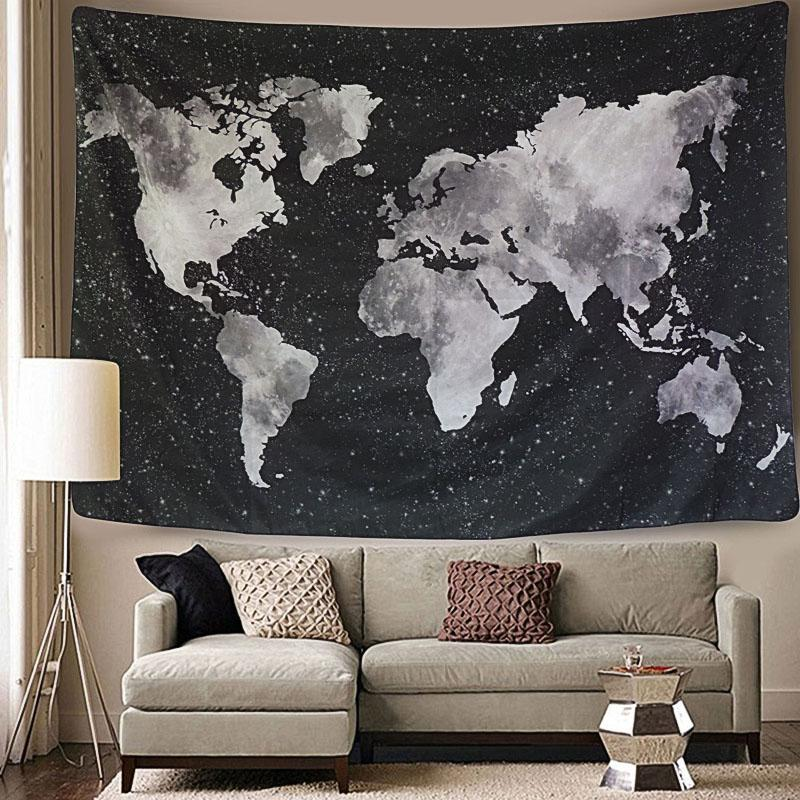 Black Watercolor Map Boho Fabric Wall Tapestry