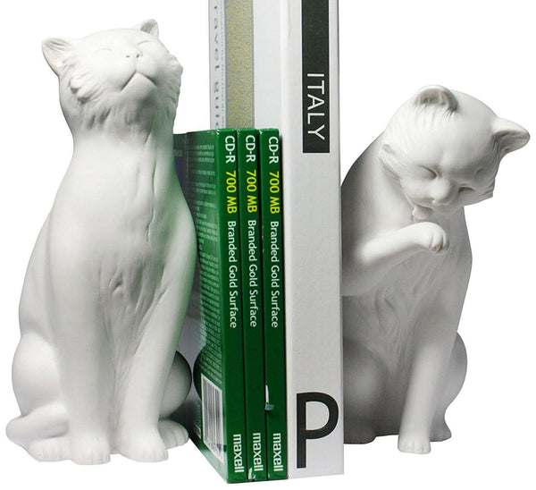 White Cat Bookend Set-GoGetGlam