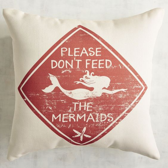 Don't Feed the Mermaids Printed Pillow-GoGetGlam