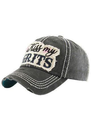 Kiss My Grits Washed Vintage Ball Cap-GoGetGlam