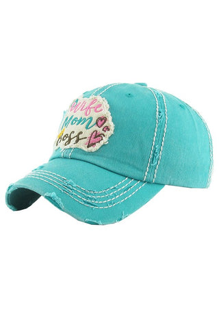 Wife Mom Boss Washed Vintage Ball Cap-GoGetGlam
