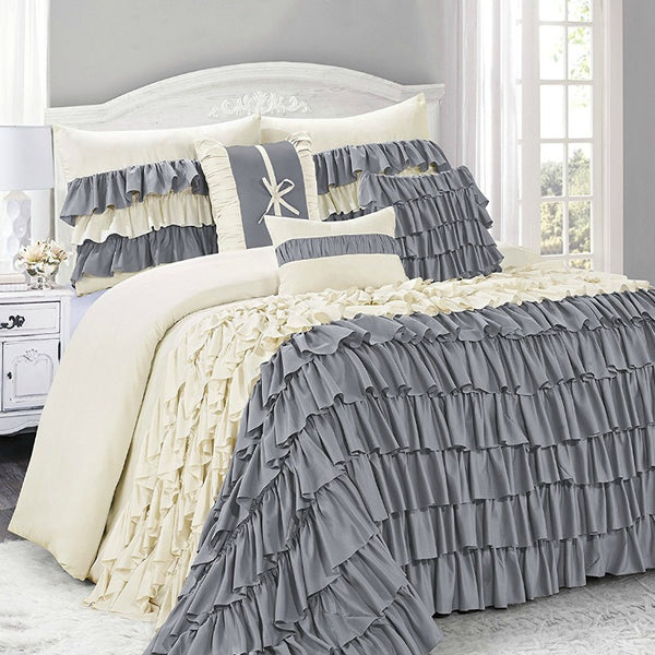 Bianca 7PC Ruffled Layers Comforter Bedding SET-GoGetGlam