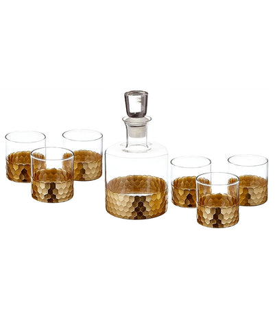 7-Piece Bar Decanter and Glasses Set in Gold