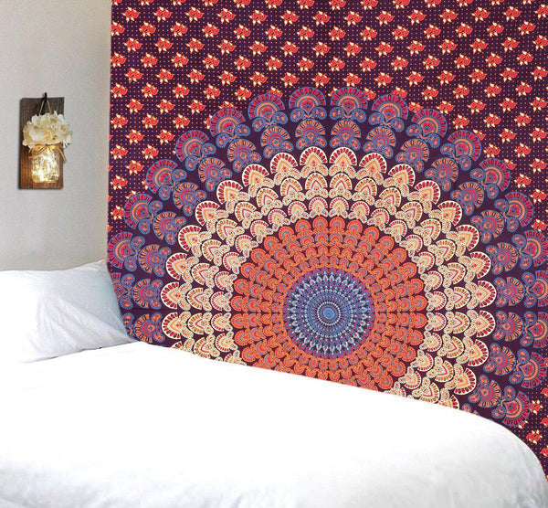 Dora Purple Orange Mandala Bohemian Fabric Tapestry-GoGetGlam