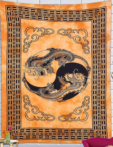 Yellow Gold Chinese Dragon Bohemian Fabric Tapestry-GoGetGlam