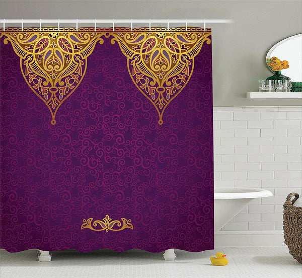 Boho Royal Palace Purple Gold Shower Curtain-GoGetGlam