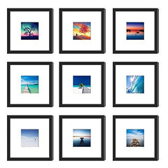 9PC Black 8 x 8 Photo Frame Mat SET-GoGetGlam