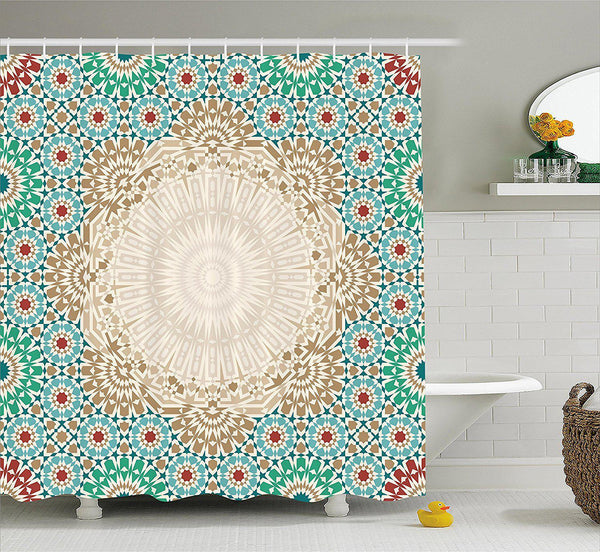 Bohemian Morrocan Tile Shower Curtain-GoGetGlam