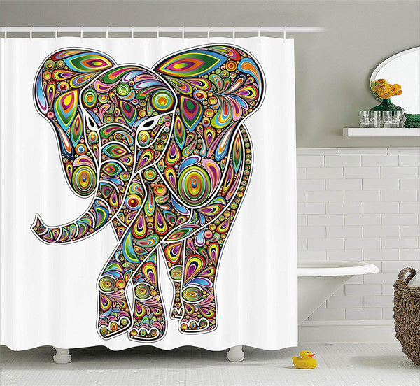 Psychedelic Hippie Elephant Shower Curtain-GoGetGlam