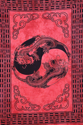 Red Chinese Dragon Bohemian Fabric Tapestry-GoGetGlam