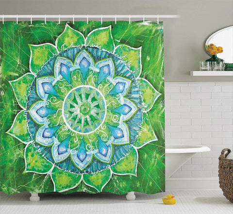 Green Blue Leaf Mandala Boho Shower Curtain-GoGetGlam