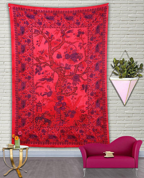 Red Floral Forest Bohemian Fabric Tapestry-GoGetGlam